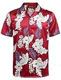 HOTOUCH Herren Hawaiihemd Kokosnuss-Baum-Blumendruck Strandhemd Hemden Bunt Rot XXL