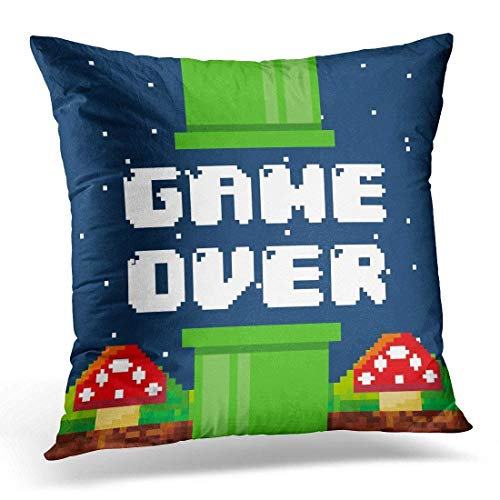 ruishandianqi Copricuscini e federe Video Pixel Game Over Interface with Fungus Icons Colorful Design Videogame Console Decorative Pillow Case Home Decor Square 18x18 Inches Pillowcase