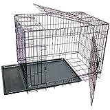 Jaula para perros, de metal, 2puertas, de transportín, plegable, negra 75x53x61 cm