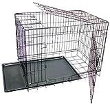 Gabbia Media Per Cuccioli Cane in Metallo, 2 porte Trasportino Pieghevole nero (75x53x61 cm) G2141M