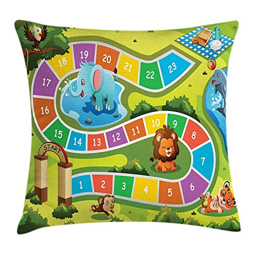 VICKKY Kid's Activity Throw Pillow Cushion Cover, Picnic in The Forrest Colorful Pathway to The Blanket with Friendly Animals, Decorative Square Accent Pillow Case, 18 X 18 inches, Multicolor
