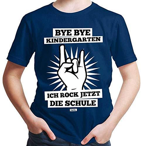 HARIZ  Jungen T-Shirt Bye Bye Kindergarten Ich Rock Jetzt Die Schule Einschulung Inkl. Geschenk Karte Navy Blau 140/9-11 Jahre