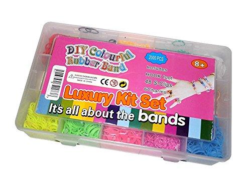2000 Teile XXL Loom Starter Kit Set Bänder Bandz Gummibänder mit Charms Anhänger Webrahmen Haken S-Clips NEU
