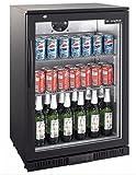 Kühlschrank Glastür 138 Liter Umluft schwarz Getränkekühlschrank Flaschenkühlschrank