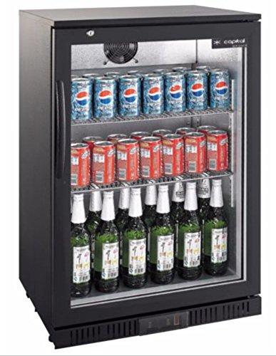 G-Brand Kühlschrank Glastür 138 Liter Umluft schwarz Getränkekühlschrank Flaschenkühlschrank