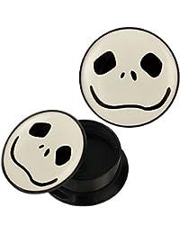 Schraub Plug Acryl schwarz weiß Gespenst Gesicht Naht Piercing Ohrschmuck