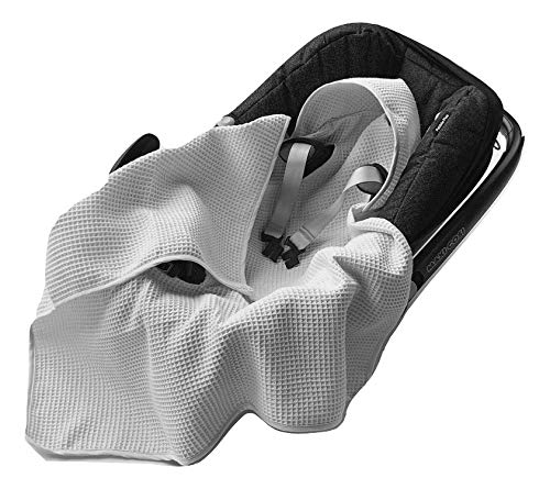 BABEES© Einschlagdecke Waffelstoff Baumwolle Waffelpiqué für Babyschale Autositz, Universal z.B. Maxi-Cosi Römer Cybex, Frühling Sommer Baby Decke für Kinderwagen Babytragen leicht (GRAU)