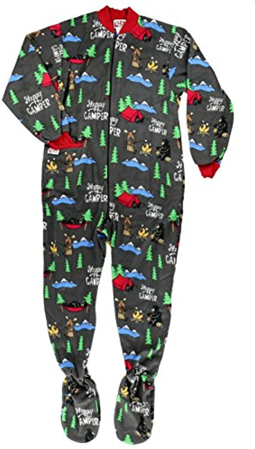 Lazyone Unisex Happy Camper Footie All-in-One Adult