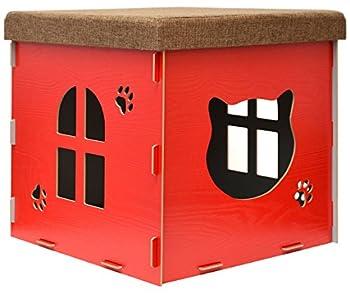 Eyepower Dôme pour Chat 46x46x46cm Grande Maison L INCL griffoir boîte carrée avec Couvercle rembourré pour s'asseoir Repose-Pied Rouge