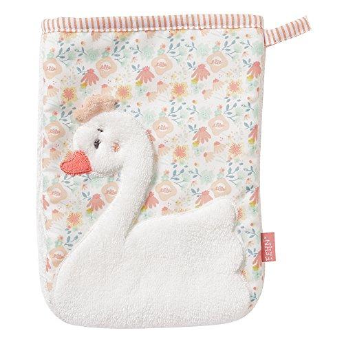 Fehn 062212 Waschhandschuh Schwan | Waschlappen mit Tiermotiv für fröhlichen Badespaß | Für Babys und Kinder ab 0+ Monaten