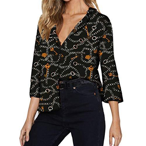 Zegeey Damen T-Shirt Sommer V-Ausschnitt Dreiviertel Gedruckte Chiffon Atmungsaktive Bluse Tops ()