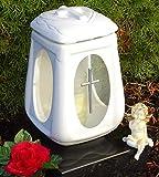 Lanterna con Cuore incl.LED tomba luce 36,0cm ♥ Grab lampada Benedice Grab lampada da angelo Tomba candela Cimitero lampada