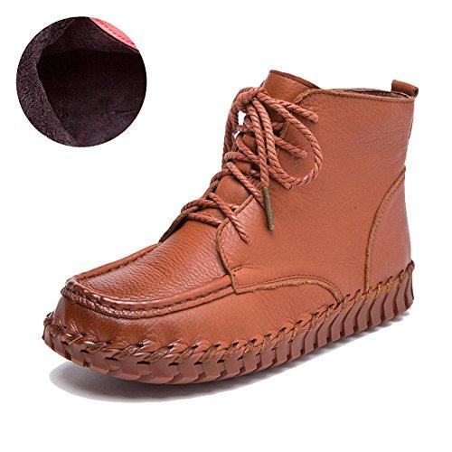 femmes fait main bottes cuir doux semelles plus épais peluche appartement chaud paresseux enceinte cheville lacet chaussures