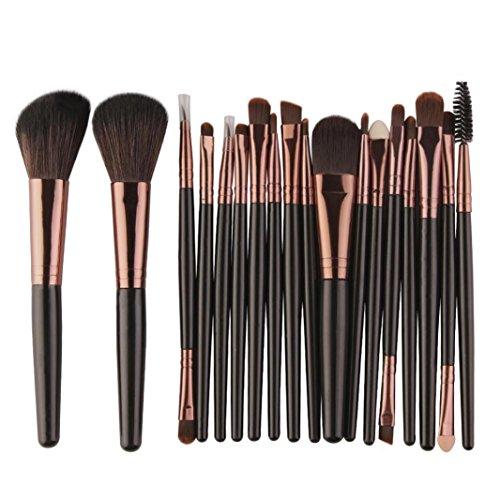 HLHN 18 Pcs Schmink Pinsel Set Kabuki Brush Set -Rougepinsel, Lidschattenpinsel - Puderpinsel, - Premium Makeup Brush Set (Schwarz C) (Geschmack Hohe Lippe)