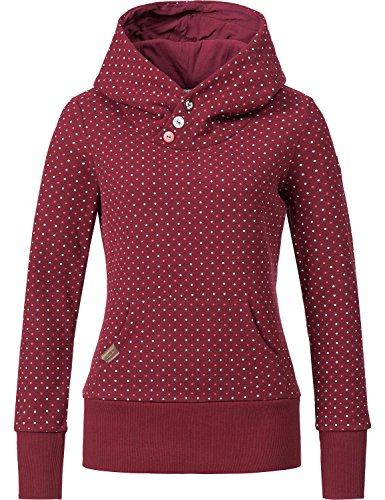 Ragwear Damen Sweatshirt Hoodie Chelsea (vegan hergestellt) Dots Wine Red Gr. L