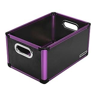 anndora Office Box Aufbewahrungsbox Schwarz Lila Regalbox - Kunststoff Aluminium