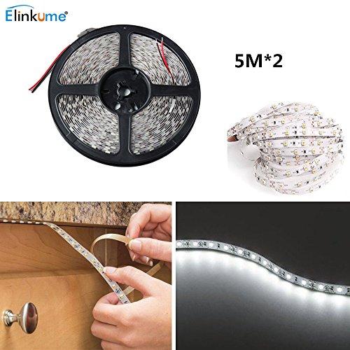 LED Flexible Streifen Licht - ELINKUME 10M/32.8Ft 600 LEDs SMD5050 Hohe Helligkeit Seil Licht Dekorative Beleuchtung für Schlafzimmer/Wohnzimmer/Balkon/Küche/Schrank/Auto/Party Dekoration (kaltweiß) (Küche Led-seil-beleuchtung)