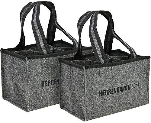 com-four® 2X Herrenhandtasche, Filztasche, Flaschentasche aus Filz für 6 Flaschen bis 0,5 L, grau/schwarz, 24 x 15 x 15 cm (02 Stück - Filz) -