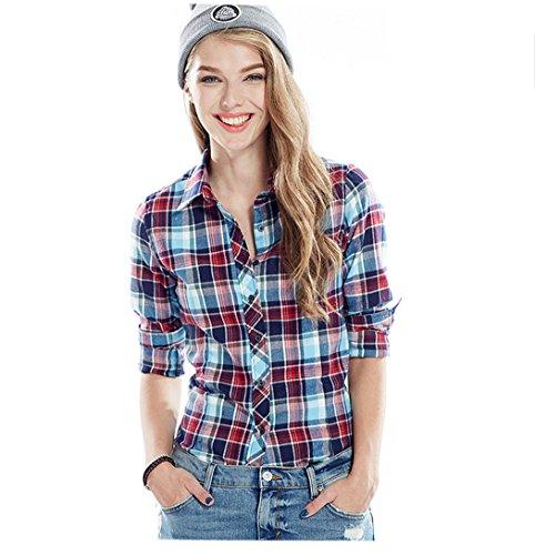 ACVIP Femmes/Fille Étudiante Chemise à Carreaux Simple Manche Longue Revers Blouse Outwear Casuel en Coton,13 Couleurs Bleu+Rouge