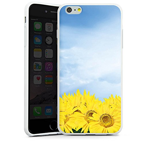 Apple iPhone X Silikon Hülle Case Schutzhülle Sonnenblumen Himmel Sonne Silikon Case weiß