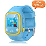 Smart Watch Kids, Witmoving GPS Tracker Watch Touch Screen Childrens Smart Watch Phone Sim Anti-lost SOS Wrist Watch Parent Control By IPhone IOS Android Smartphone for Boys Girls (Blue)