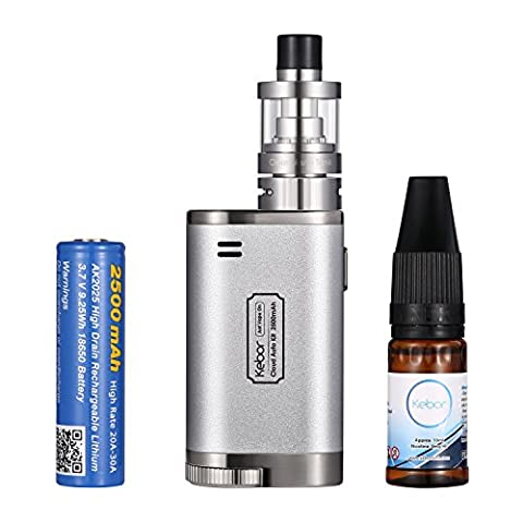 E Cigarette, Kebor® Cloud Auto 40W 2500mAh Box Mod Full Kit with Nicotine-Free E Liquid, Sub Ohm Vape 2ml Top Filling Tank, Replaceable 18650 Battery High Drain 20A for Huge Vapour, E Cig Complete Set, Micro USB Charging Ecigarette Automatically Switch Between MTL and DTL -