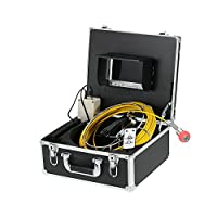 "Lixada 7"" LCD Display 960TVL CCD Pipeline Inspection Camera Waterproof Drain Pipe Sewer Inspection Camera Industrial Baroscope Inspection System with 20m / 30m / 40m / 50m Cable"