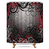 Best Leaf Curtains - Cdcurtain Red And Black Shower Curtain Set Leaf Review