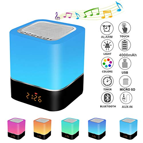 Careslong Lampada da Comodino con Altoparlante Bluetooth Controllo Touch Dimmerabile 7 colore, con funzione sveglia/altoparlante wireless/radio FM/Chiamate Vivavoce