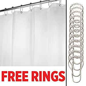 mDesign EVA 5.5-Gauge Shower Curtain Liner & 12 Shower Curtain Rings - 72 x 72, Frost by MetroDecor