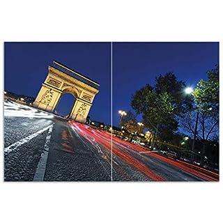 Wallario Herdabdeckplatte/Spritzschutz aus Glas, 2-teilig, 80x52cm, für Ceran- und Induktionsherde, Motiv Paris in Frankreich - Arc de Triomphe bei Nacht