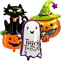 com-four® 3x Halloween Party Balloons in various designs, Trick or Treat Foil Balloon Set for helium or air