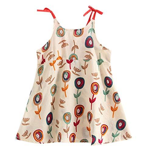 KIMODO Kleinkind Baby Mädchen Kleid Blumen Drucken Gurt Kleider Urlaub Prinzessin Ärmellos Sommerkleid Outfit Kleidung
