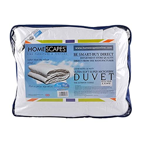 Homescapes - Ultrasoft Super Microfibre - 10.5 Tog - Super King Size - The Best Synthetic Duvets designed for And Used By The Best 5 and 7 Star Hotels From Around The World - Anti Allergy - Anti Dustmite - Box Baffel Construction - Washable at Home
