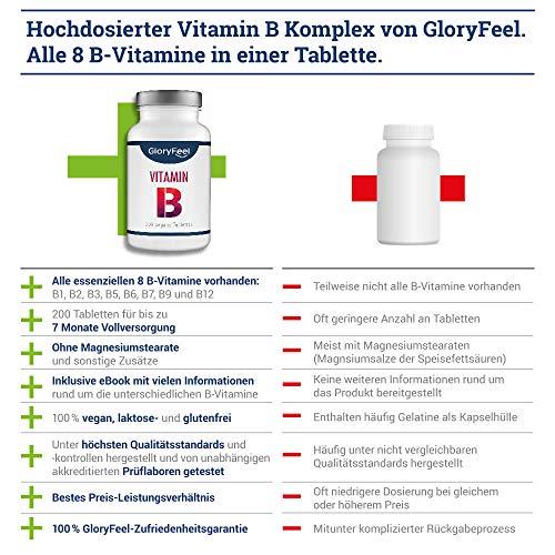 Vitamin B Komplex Hochdosiert 200 Tabletten – Alle 8 B-Vitamine in einer Tablette Ohne Magnesiumstearate – B1 B2 B3 B5 B6 B7 (Biotin) B9 (Folsäure) und B12 – Über 6 Monte Vitamin-B von GloryFeel - 2