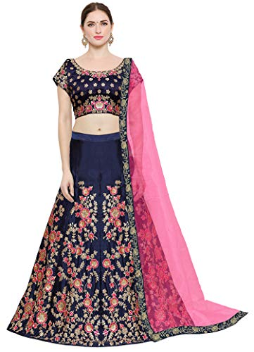 Kedar Fab Women\'s Taffeta Silk Lehenga Choli With Blouse Piece (free size_Blue_Pink)