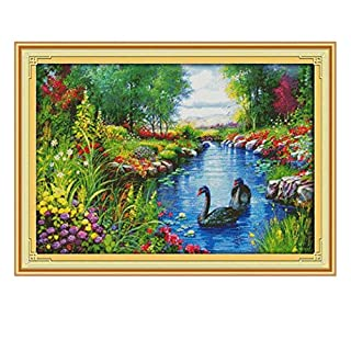The Peaceful Landscape Counted Cross-Stitch 11CT Printed Fabric 14CT Canvas DMC DIY Handmade Embroidery Set Crafts,Cross-Stitch F557,11CT Printed Cloth