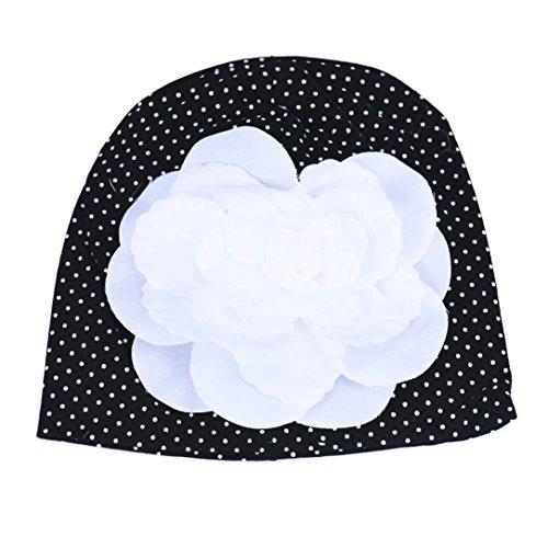 Culater® Fiore cappelli del bambino cappelli cappello autunno inverno della neonata (Nero)