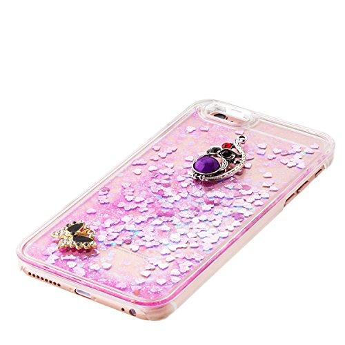 iPhone 6S Plus Hülle, iPhone 6 Plus Hülle, Gift_Source [ Gold & Engel Krone ] Schutzhülle harte plastik Schutz Handy Hülle Case, Creative 3D strom flüssiger durchdrungen von glitzer und sterne Hülle C E1-Rosa & Schmetterling und Eule