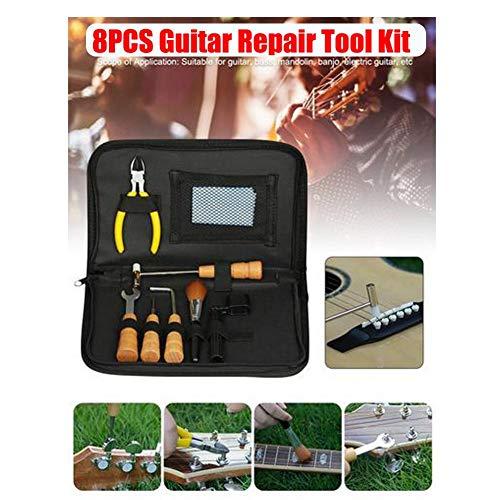 Nearthuk 8-teiliges professionelles Reparatur-Set für Akustikgitarre - Gitarrenwartungs-Set - Akustikgitarrenzubehör