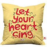 Indigifts Let Your Heart Sing Love Printed Micro Satin Cushion with Filler (12x12-inches, Beige)