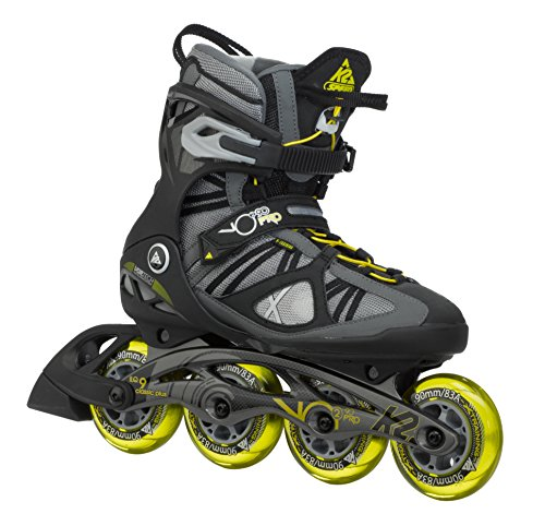 K2 Skate Men's VO2 90 Pro Inline Skates, Gunmetal/Yellow, 7