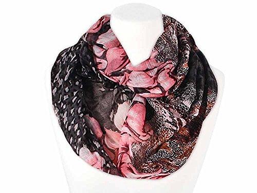 Autiga XXL Schlauchschal Infinity Loop Schal Rundschal Blumen Blüten Lilien Leoparden Muster schwarz-pink