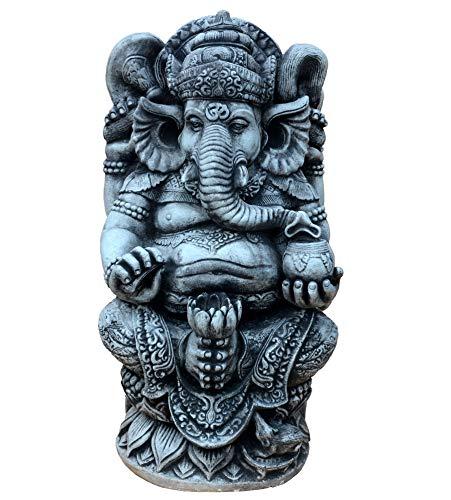 gartendekoparadies.de Massive große Ganesha - der Göttliche Statue Hinduismus Gott aus Steinguss frostfest (Schwarz)