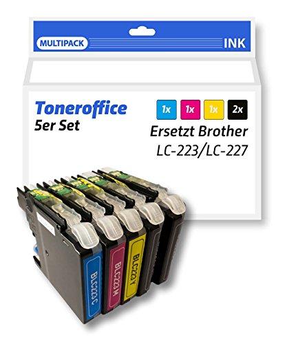 Lot de 5cartouches d'encre compatible remplace Brother LC-223LC/LC 225227BK C M Y Multi Pack pour Brother MFC J/4620/DW/MFC J-4420-DW/MFC J-4625-DW/MFC J-5625-DW/MFC J/5720/DW/MFC J- 5320-DW/MFC J-5620-DW/DCP J-4120-DW/MFC J/880/DW/MFC J-480-DW/MFC J 680de DW/DCP J/562DW toutes les couleurs: 2x noir, 1x cyan, 1x magenta, 1x jaune 5er Set: 2x Schwarz, 1x Cyan, 1x Magenta, 1x Gelb
