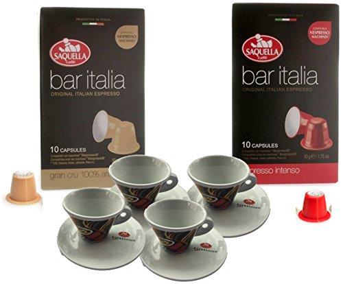 242753516cc48e Espresso Coffee Mothers Day Gift Set 4 designer Espresso Cups & Saucers  with 10 Bar Italia Intenso and 10 Gran Cru Nespresso Compatible Capsules