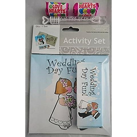 10x infantil Boda Actividad Packs–wedding-themed, libro para colorear, Tubo de Burbujas, Lollipops Mini, diseño de corazones, color de los niños