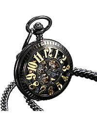 ESS Bolsillo La Vendimia Caja Negro Esqueleto Oro del Regalo Mecánico Antiguo Reloj Los Hombres