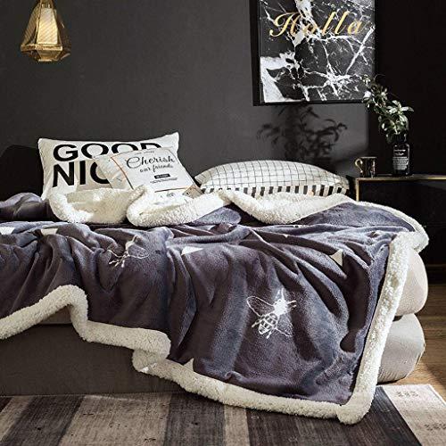 Vlies Decke, Muster Drucken Und Färben Weichem Kuschelig, Doppelschicht Warm Halten Abwaschbar Kuscheldecke, Für Heimgebrauch, Schlafzimmer, Wohnzimmer-200×230cm-O