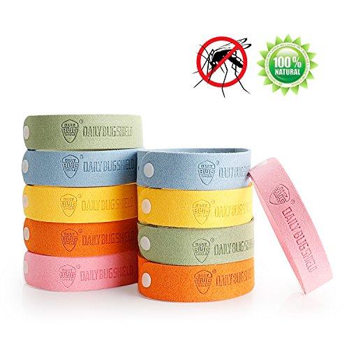 Fukkie Mückenarmband, 10 Stück Anti Mücken Armband mit 240 Stunden Schutz, 100% Natürliches Pflanzenöl, Deet Frei, Indoor Outdoor Mückenschutz Armband für Erwachsene und Kinder